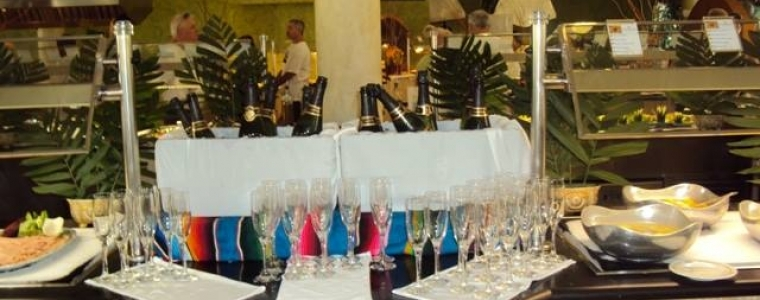 Champagne at breakfast buffet
