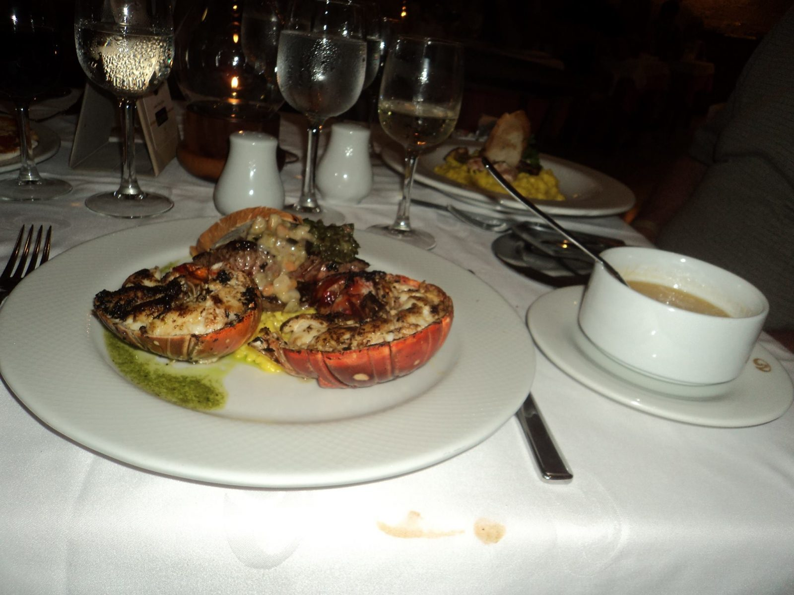 lobster in Portofino. (Extra charge. No charge for Roya)