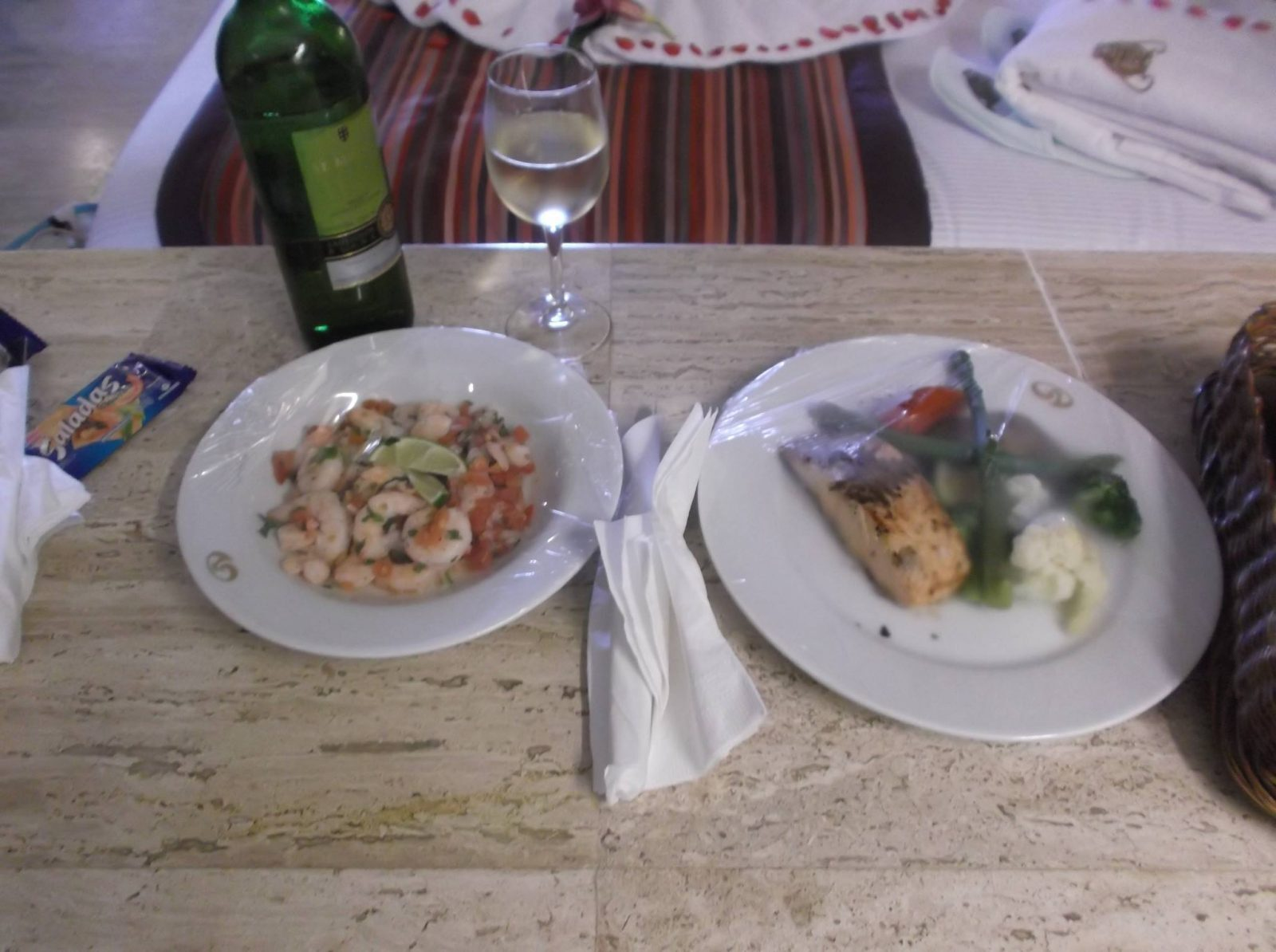 Rooms service in RSY (Cerviche & salmon)